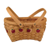 "11.5"" Wood Slat Apple Basket"