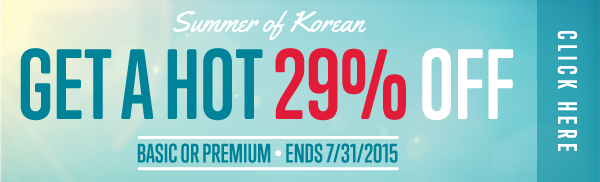 Click here to get a HOT 29% OFF at KoreanClass101!