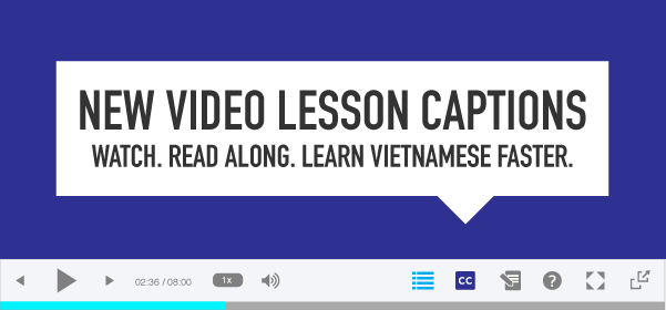 New Video Lesson Captions! Watch. Read Along. Learn Vietnamese Faster