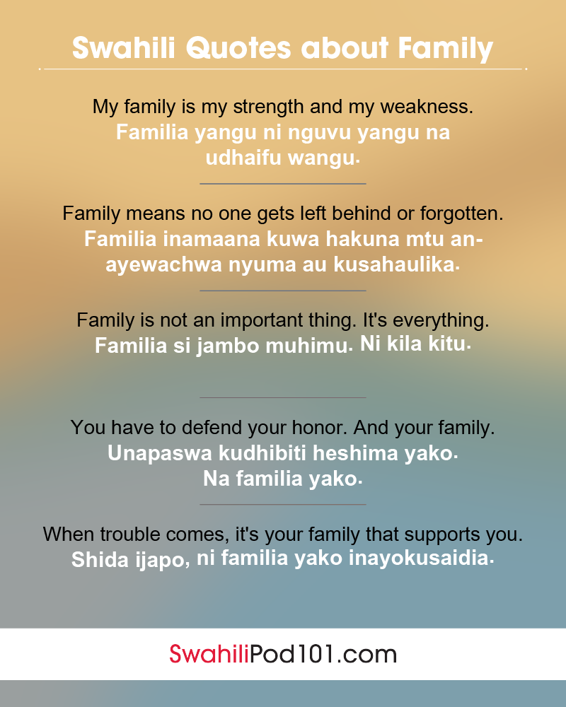 Swahili Family Quotes