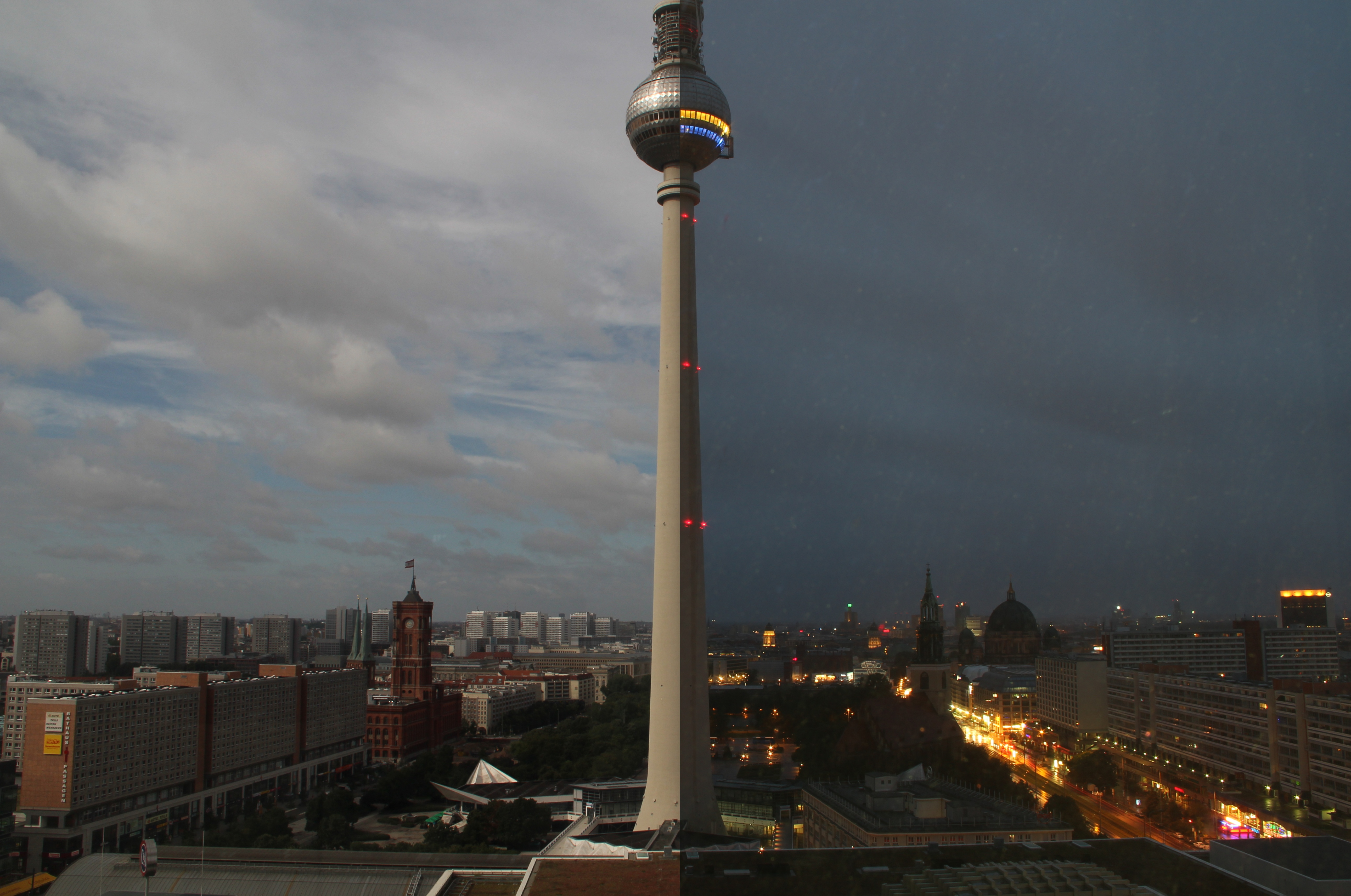 The 'Fernsehturm' of Berlin on the left side by day and the right side by night