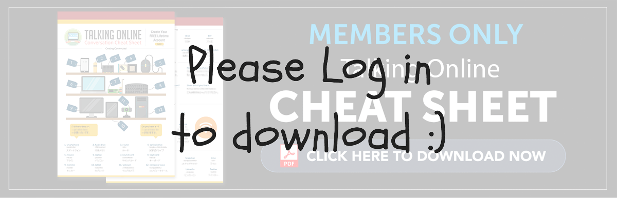 Log in to Download Your Free Cheat Sheet - Talking Online in French