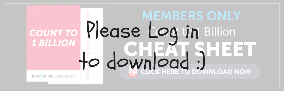 Log in to Download Your Free Cheat Sheet - Count to One Billion in Spanish