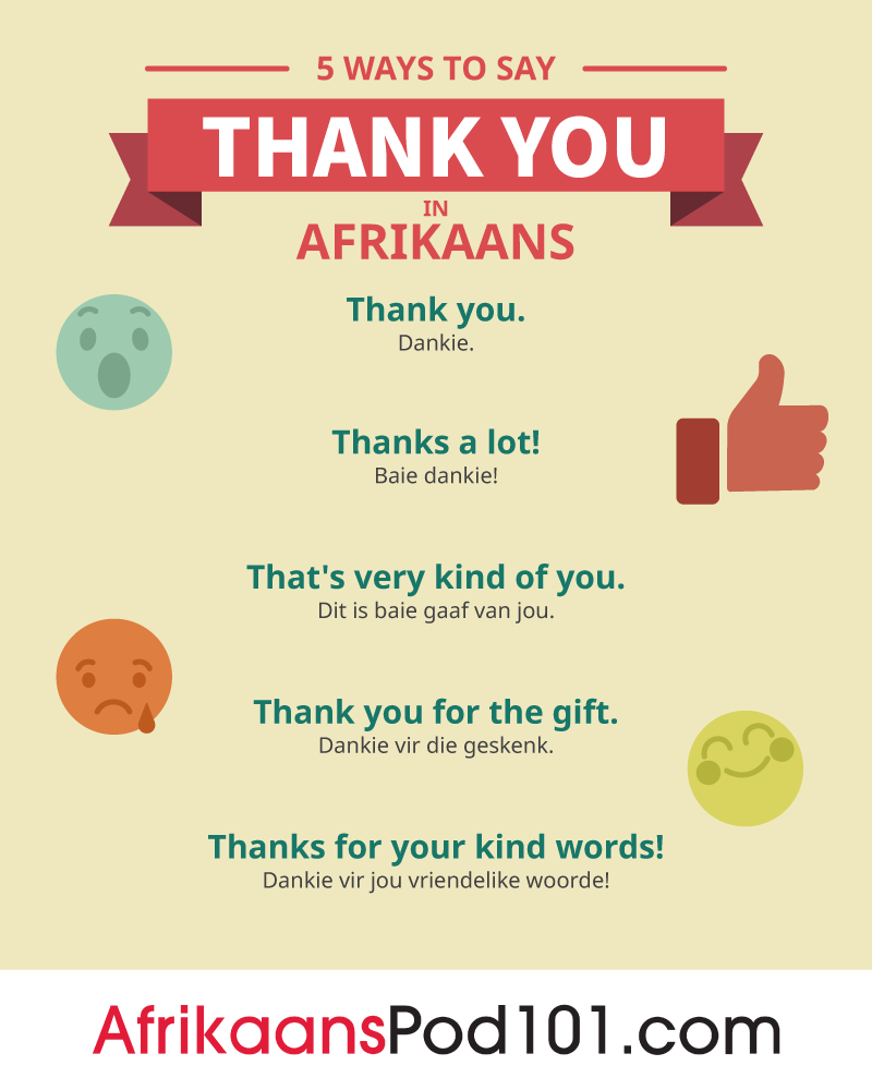 5 Ways to Say Thank You in Afrikaans