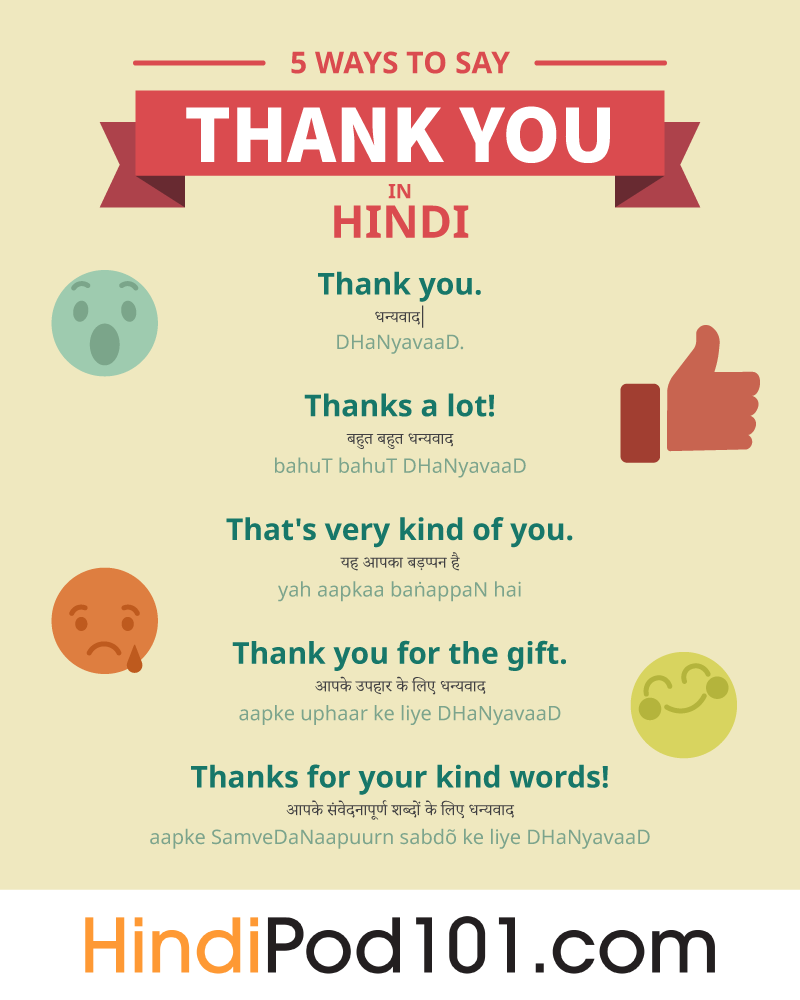 How To Say Thank You In Hindi Hindipod101