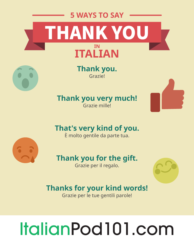 How to say thank you in italian italianpod101 5 ways to say thank you in italian m4hsunfo
