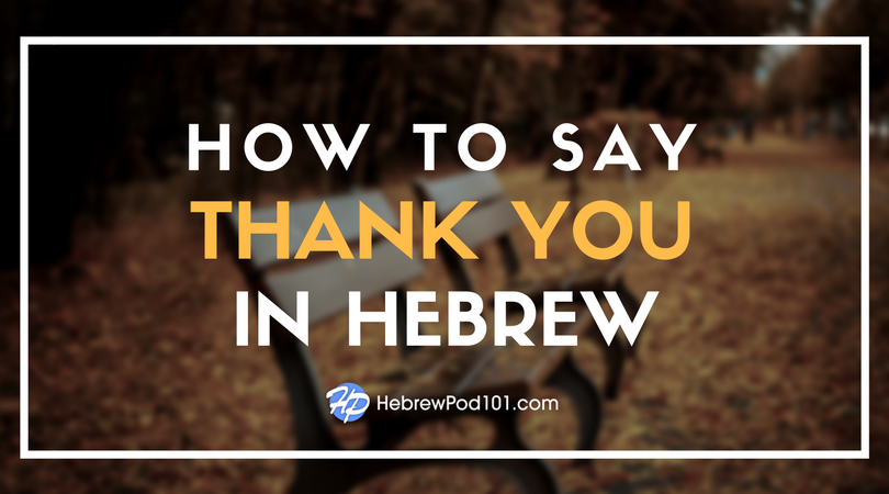 How to Say Thank You in Hebrew