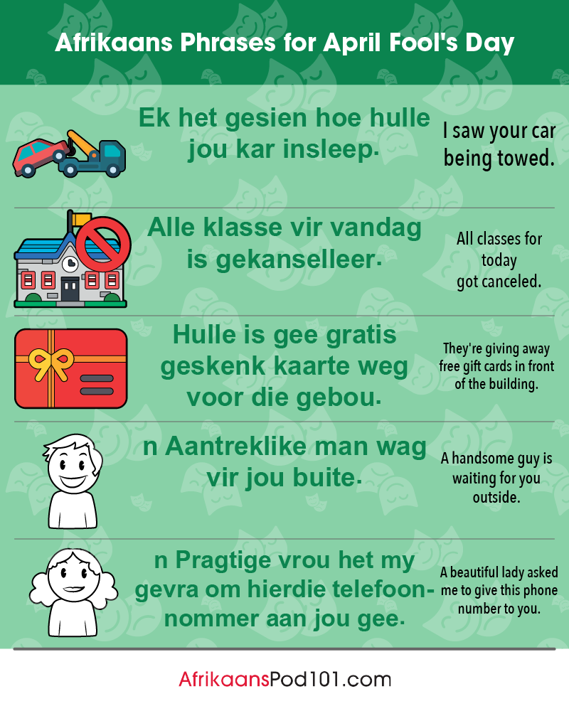 Afrikaans Phrases for April Fools' Day