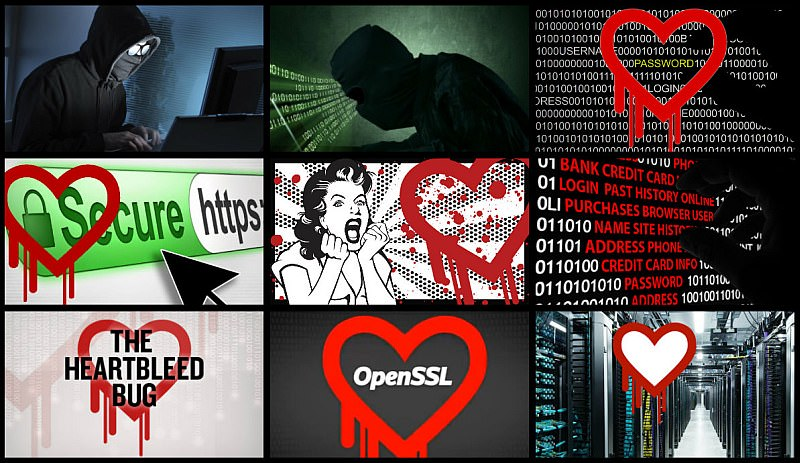 Heart Bleed OpenSSL security bug - collage