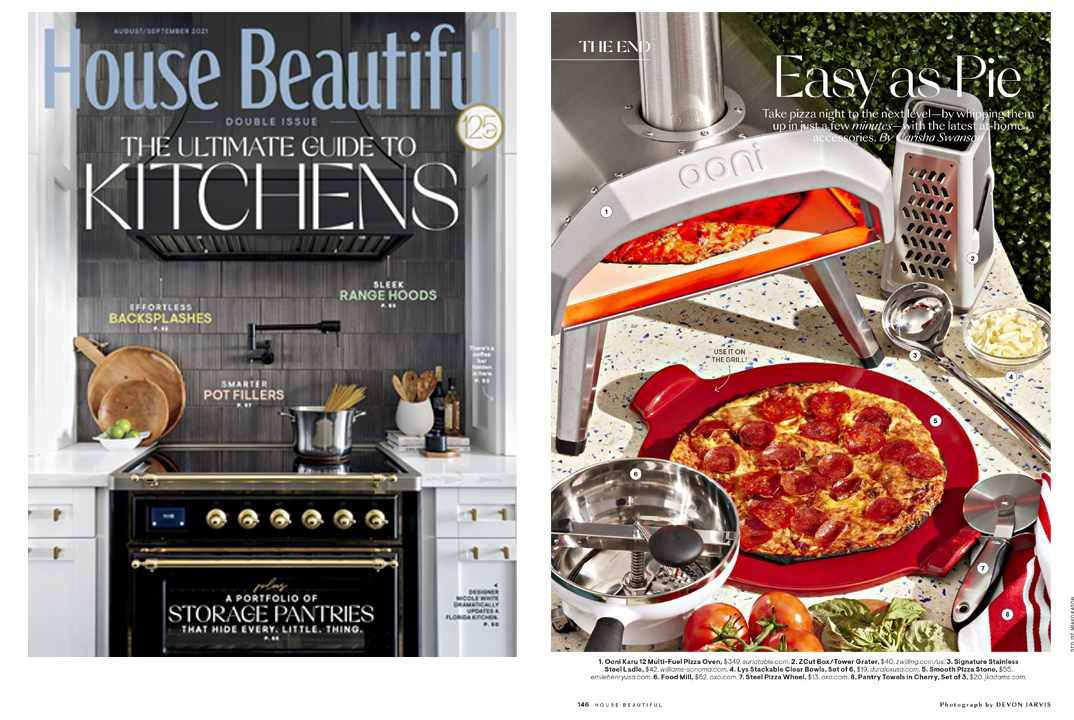 House Beautiful August/September 2021 magazine cover and Easy as Pie article image of a pizza party.