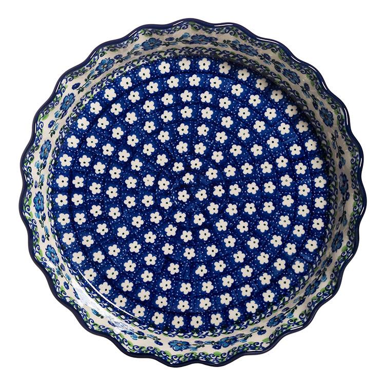 Polish Pottery Ruffled Pie Plate-Morning Glory