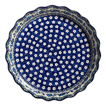 Polish Pottery Ruffled Pie Plate-Morning Glory