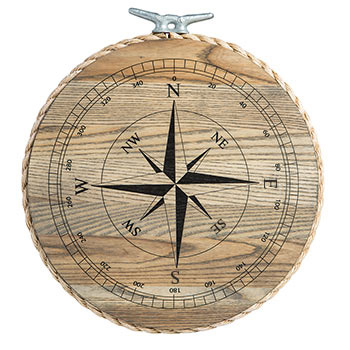 "Ash 14"" Round Tray with Compass Rose"