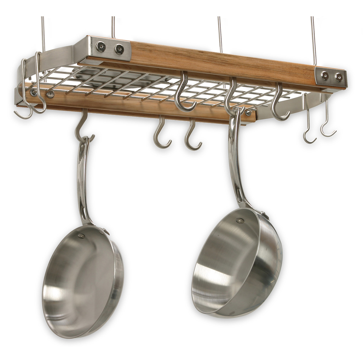 kitchen pot kzhl com racks amazon standard cooks hanging wall by mounted wooden bowls dp inch rack