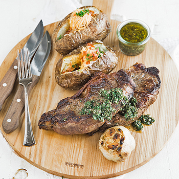 GRILL STONE RECIPE #2: New York Strip Steak with Chimichurri