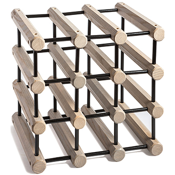 Wooden Ash Modular Wine Rack Grey with black Pins