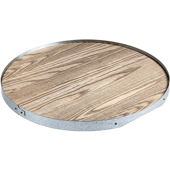 Ash Wood Serving Tray with Galvanized Trim