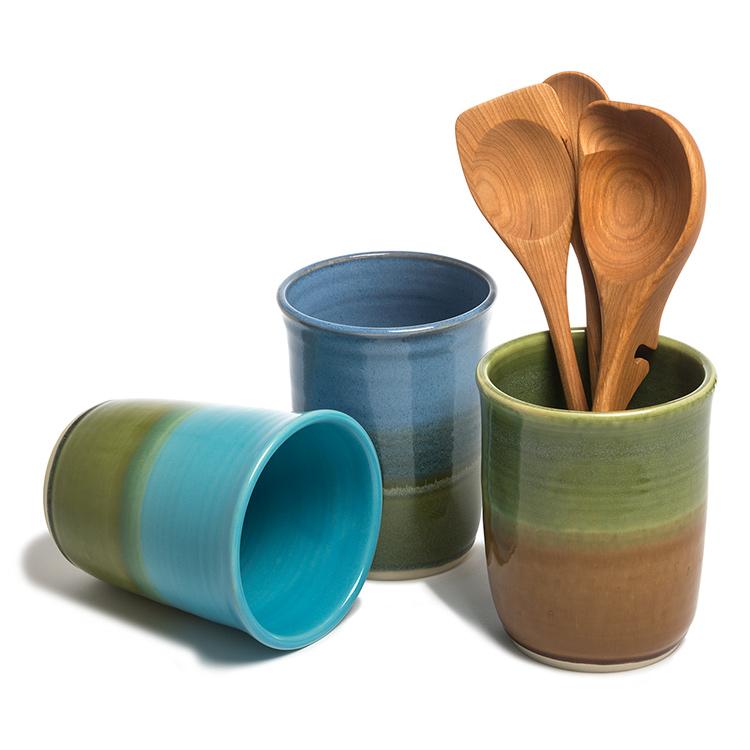 Becky Wright Pottery Utensil/Wine Holder