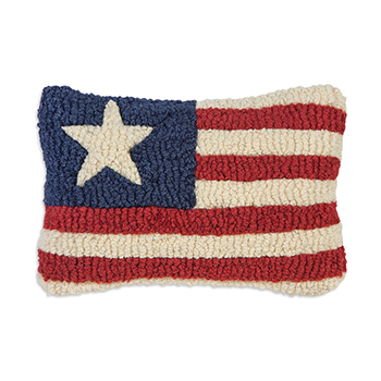 Small Hooked Wool Pillow-Stars & Stripes