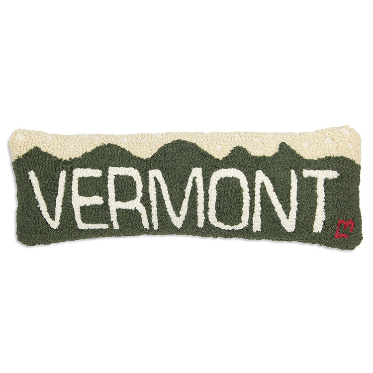 Lumbar Hooked Wool Pillow-Vermont