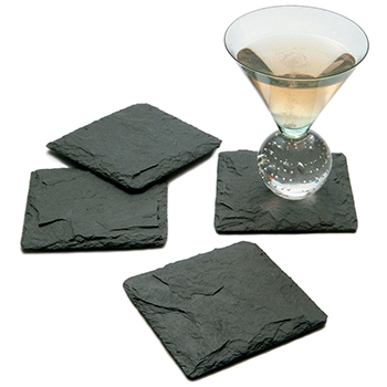 Charcoal Slate Coasters set of 4