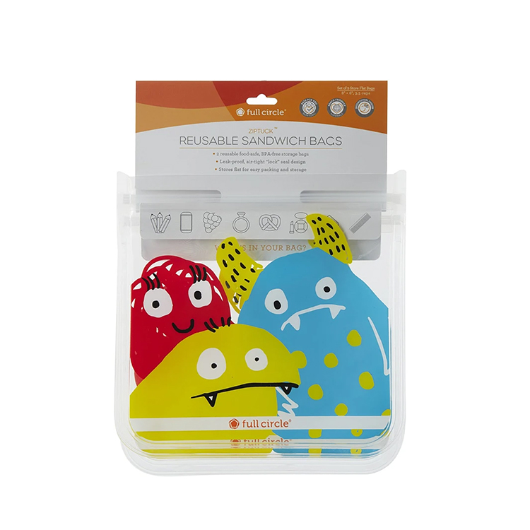 Silicone Sandwich Bags-Monster set of 2