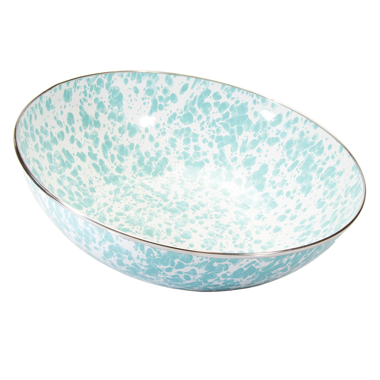 Enamel Catering Bowl-Sea Glass Swirl