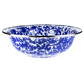 Enamel Serving Bowl-Cobalt Swirl