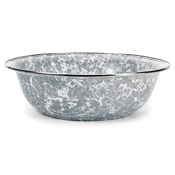 Enamel Serving Bowl-Grey Swirl
