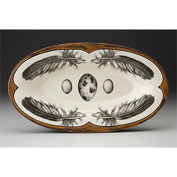 Laura Zindel Oblong Serving Dish, Quail Feather