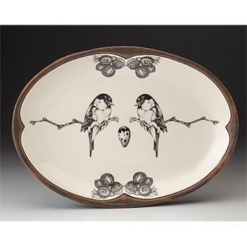 Laura Zindel Oval Platter, Chickadees