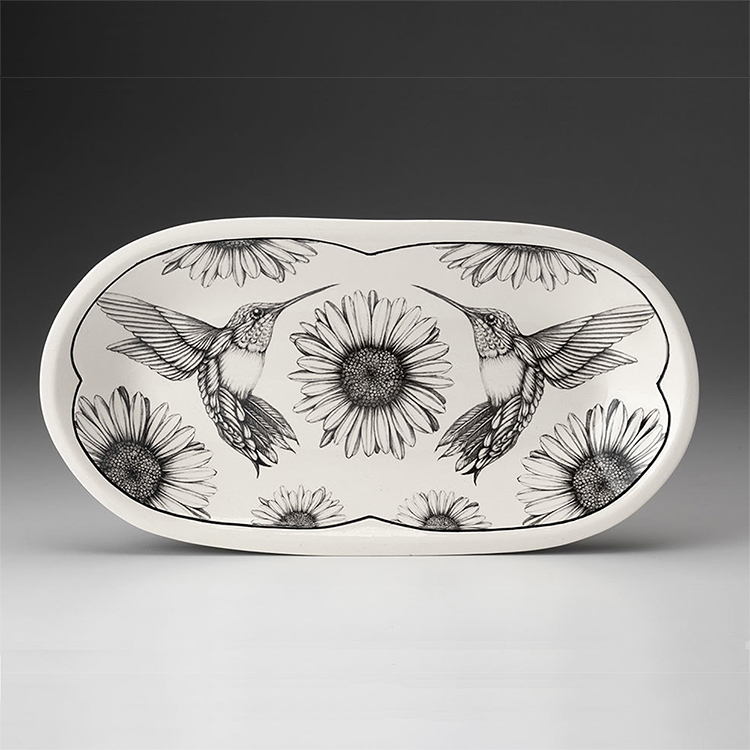 Laura Zindel Rectangle Serving Dish-Hummingbird #4