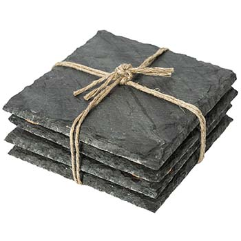 Light Grey Slate Coasters Set of 4