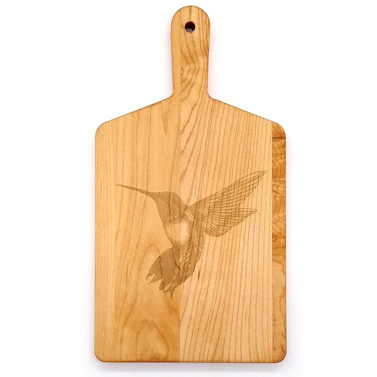 Maple Handle Cheese Board-Hummingbird