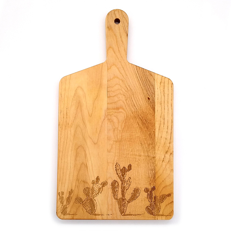 Maple Handle Cheese Board-Cacti