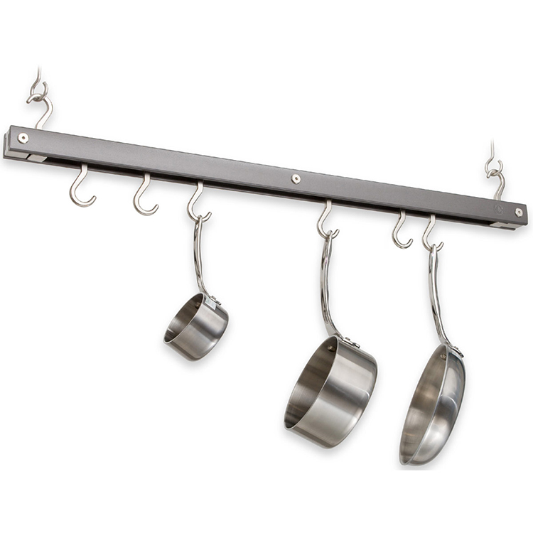 Maple Hanging Bar Pot Rack in Gray