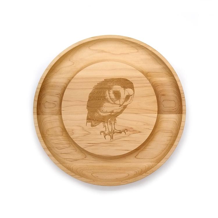 Maple Round Cheese Board-Barn Owl