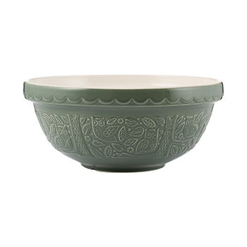 Mason Cash In the Forest 2.85 qt. Owl Mixing Bowl-Dark Green