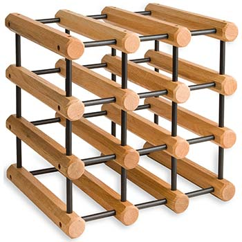 Wooden Oak Modular Wine Rack with black pins