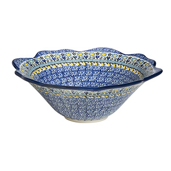 Polish Pottery Fancy Serving Bowl-Gray Flowers