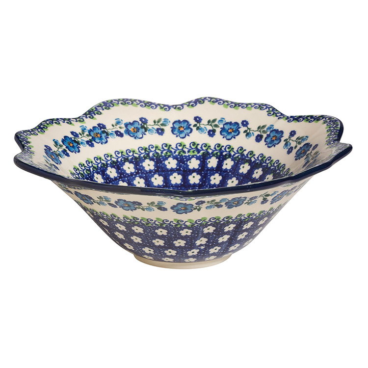 Polish Pottery Fancy Serving Bowl-Morning Glory