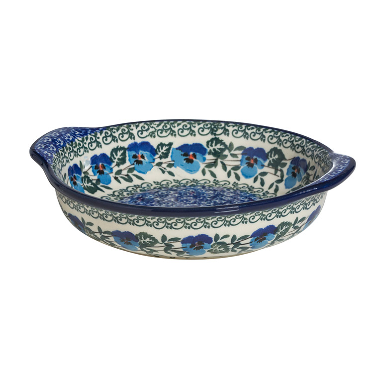 Polish Pottery Round Baker with Handles
