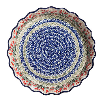 Polish Pottery Ruffled Pie Plate-Crimson Bells