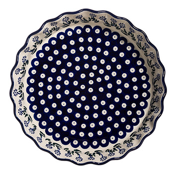 Polish Pottery Ruffled Pie Plate-Springing Calendulas