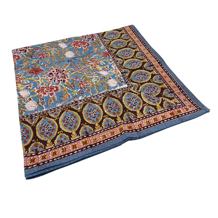 Block Print Tablecloth 60x60-Phoenix Blue
