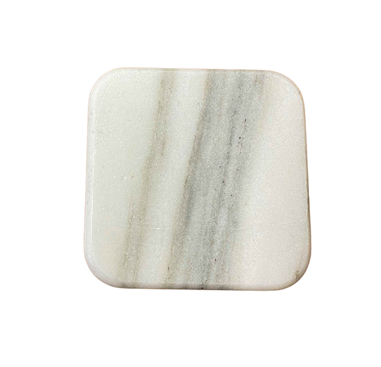 Vermont Marble White Square Coasters-set of 4