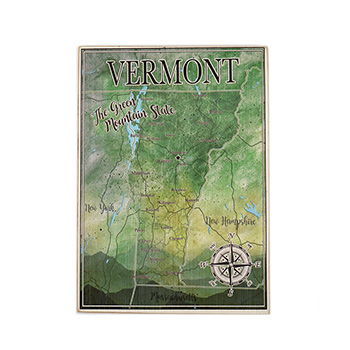 Wooden Plank Map-Vermont State - MMOM-006-VERMONT