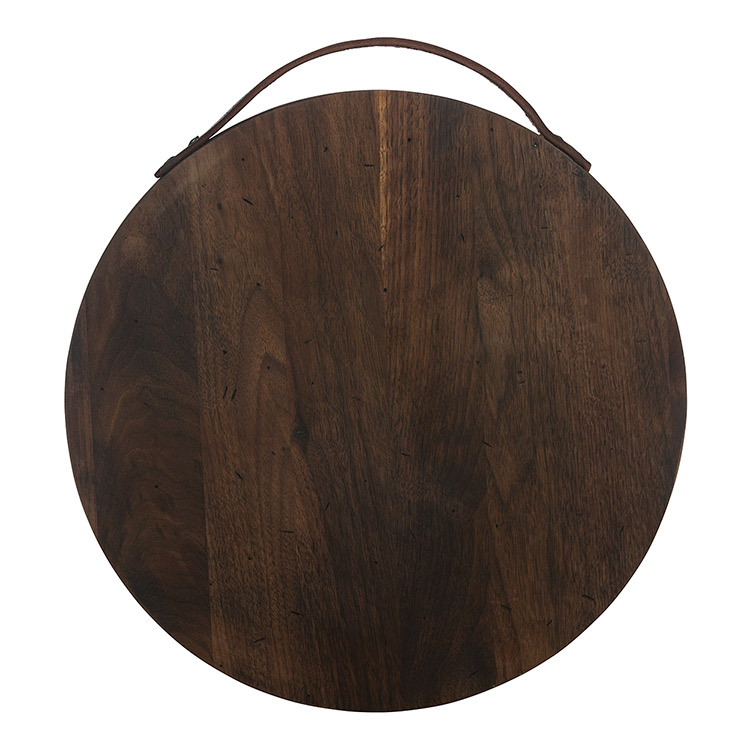 Rustic Walnut Round Serving Board