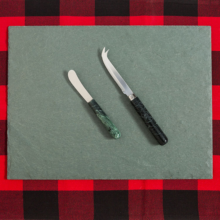 Vermont Marble Verde Cheese Knife Duo