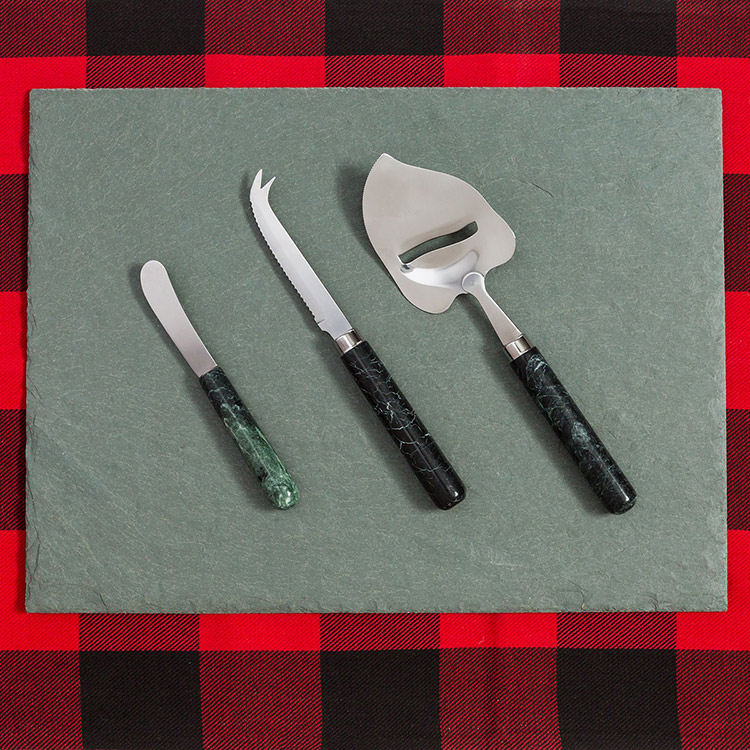 Vermont Marble Verde Cheese Knife Trio